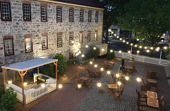 Bird's eye view of the outdoor dinning at Tavern at The Sun Inn